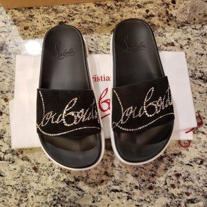 NEW Christian Louboutin Dear Pool Suede Slides